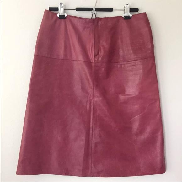d4c951995 Banana Republic Dresses & Skirts - Banana Republic Red Burgundy A-Line  Leather Skirt